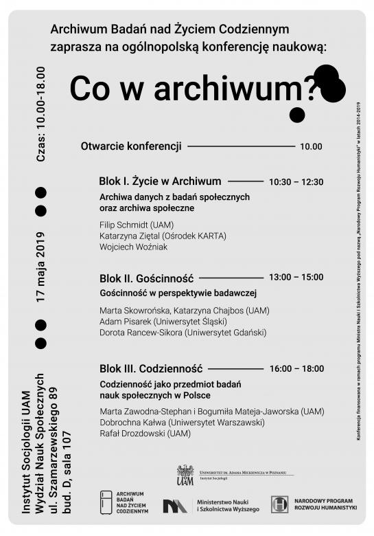 Program konferencji Co w archiwum
